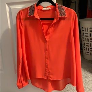 Lush button blouse with beaded collar
